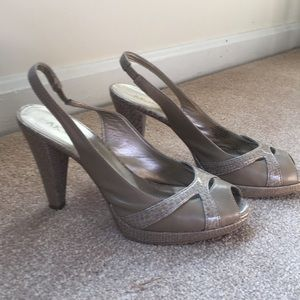 Anne Klein Taupe Sling Back Peep Toe Sandals
